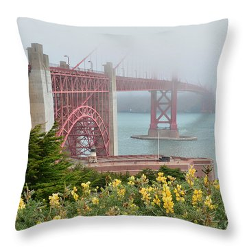 Windy Foggy Golden Gate Bridge  Throw Pillow
