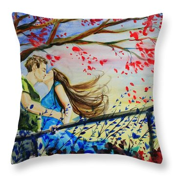 Windy Kiss Throw Pillow by Laura Rispoli