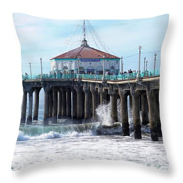 Throw Pillow featuring the photograph Windy Manhattan Pier by Michael Hope