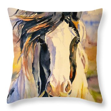 Throw Pillow featuring the painting Windy by P Maure Bausch