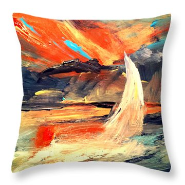 Windy Sail Throw Pillow