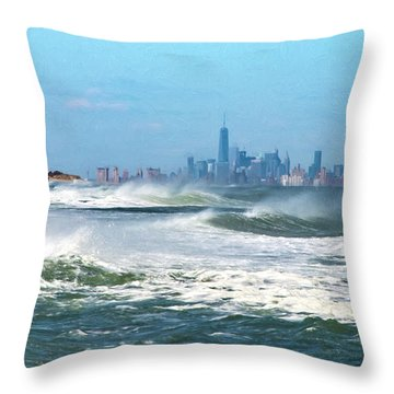 Windy View Of Nyc From Sandy Hook Nj Throw Pillow