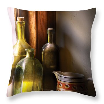 Wine - Three Bottles Throw Pillow by Mike Savad