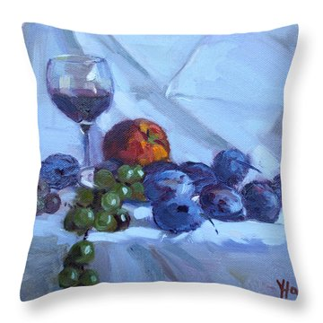 Wine And Fresh Fruits Throw Pillow