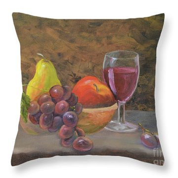 Throw Pillow featuring the painting Wine And Fruit by Mary Scott