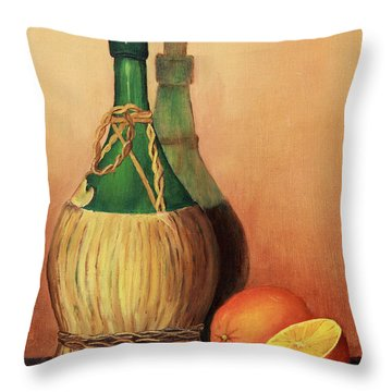 Wine And Oranges Throw Pillow
