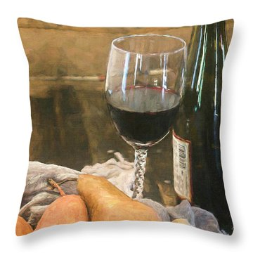 Wine And Pears Throw Pillow