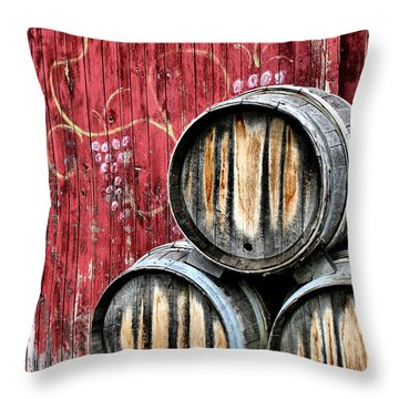 Wine Barrels Throw Pillow by Doug Hockman Photography