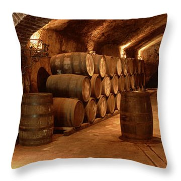 Wine Barrels In A Cellar, Buena Vista Throw Pillow