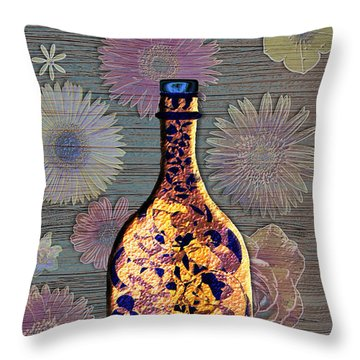 Throw Pillow featuring the digital art Wine Bottle And Floral Wall by Iowan Stone-Flowers
