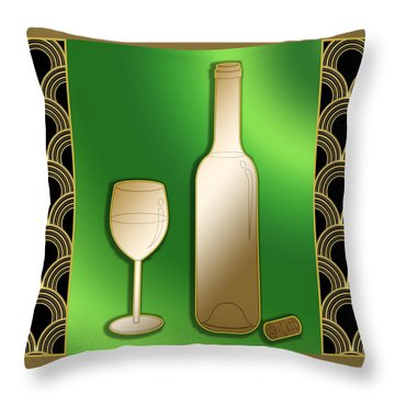 Throw Pillow featuring the digital art Wine Bottle And Glass - Chuck Staley by Chuck Staley