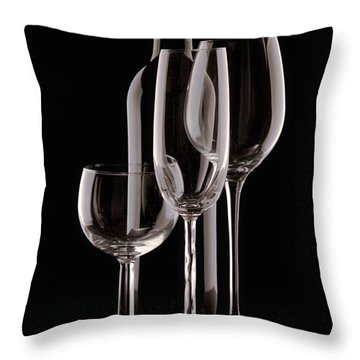Wine Bottle And Wineglasses Silhouette Throw Pillow