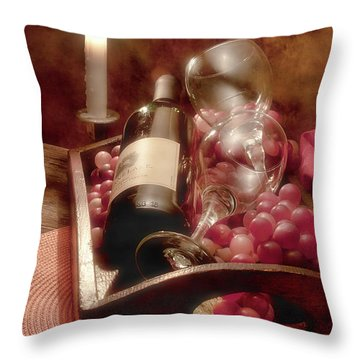Wine By Candle Light II Throw Pillow by Tom Mc Nemar