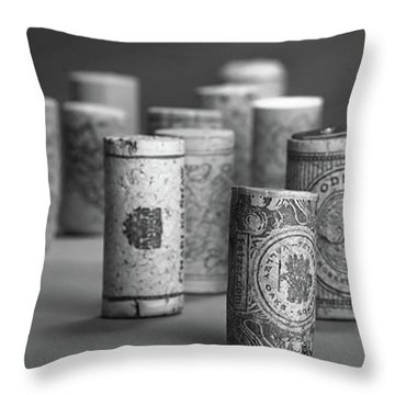 Throw Pillow featuring the photograph Wine Cork Panorama In Black And White by Tom Mc Nemar