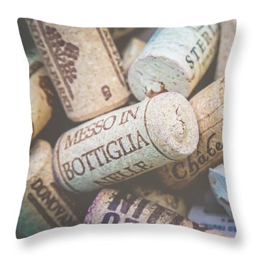 Wine Corks Throw Pillow