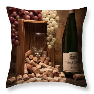 Wine Corks Still Life II Throw Pillow