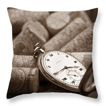 Wine Corks Still Life Vi Aged To Perfection Throw Pillow