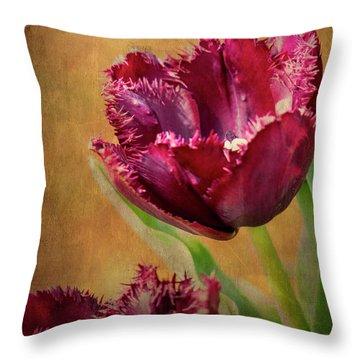 Wine Dark Tulips From My Garden Throw Pillow