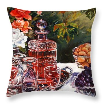 Wine Decanter Still Life Throw Pillow