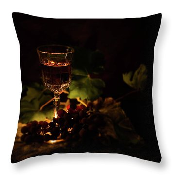 Wine Glass And Grapes Throw Pillow