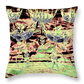 Wine Glasses Throw Pillow by Will Borden