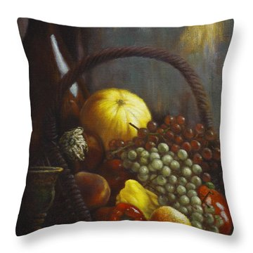 Wine Goblet Throw Pillow by Harvie Brown