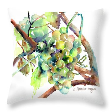 Wine Grapes Throw Pillow by Arline Wagner