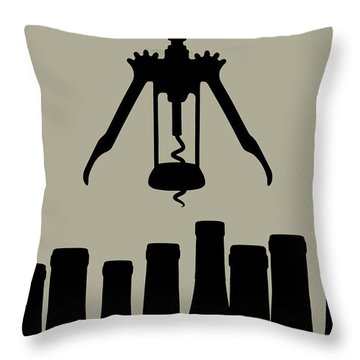 Wine Graphic Silhouette Throw Pillow