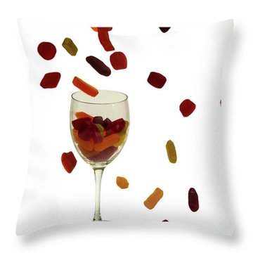 Throw Pillow featuring the photograph Wine Gums Sweets by David French