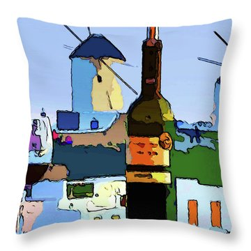 Wine In Mykonos Throw Pillow