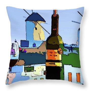 Wine In Mykonos Throw Pillow