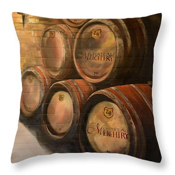 Throw Pillow featuring the painting Wine In The Barrels - Chateau Meichtry by Jan Dappen