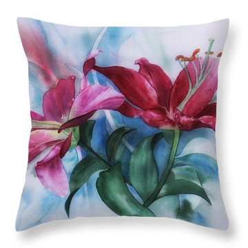 Wine Lillies In Pastel Watercolour Throw Pillow