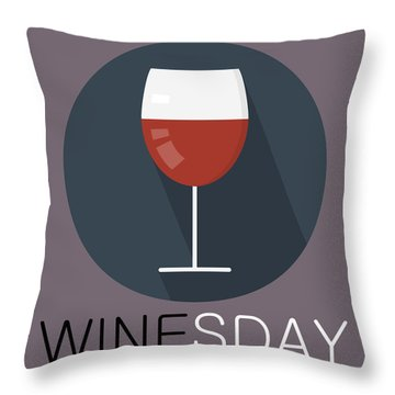 Wine Poster Print - It's Winesday Throw Pillow