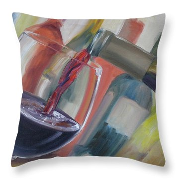 Wine Pour Throw Pillow by Donna Tuten