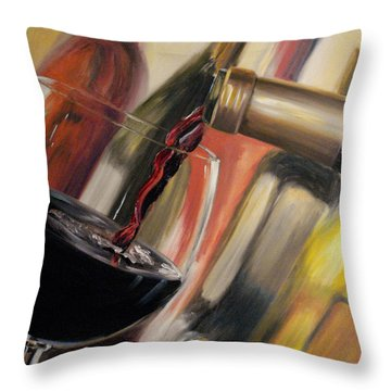 Throw Pillow featuring the painting Wine Pour II by Donna Tuten