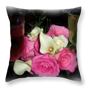 Wine, Roses And Promises Throw Pillow