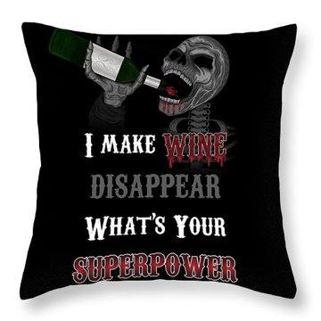 Wine Superpower Skeleton Fantasy Art Throw Pillow