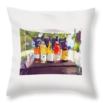 Wine Tasting Tent At Rockport Farmers Market Throw Pillow