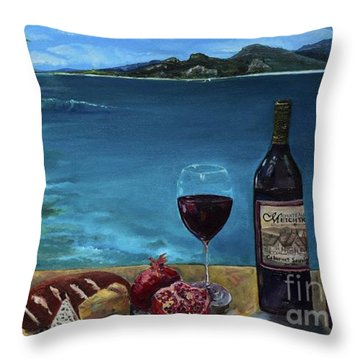 Throw Pillow featuring the painting Wine Thirty - Oceanside by Jan Dappen