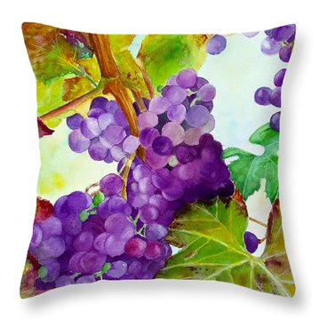 Throw Pillow featuring the painting Wine Vine by Karen Fleschler