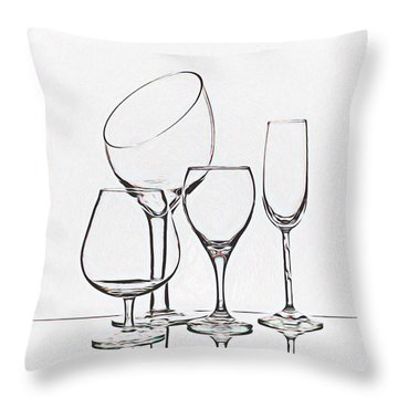 Wineglass Graphic Throw Pillow