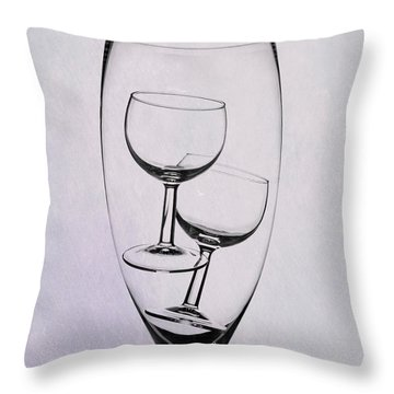 Throw Pillow featuring the photograph Wineglass Trio by Tom Mc Nemar