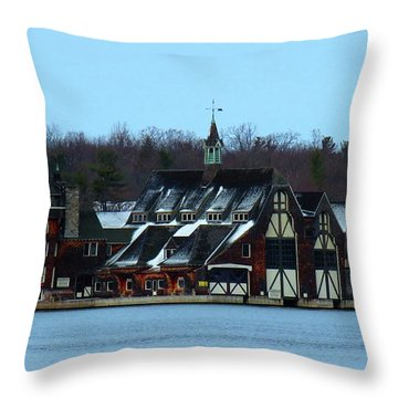 Snow On Boldt Castle Yacht House Throw Pillow