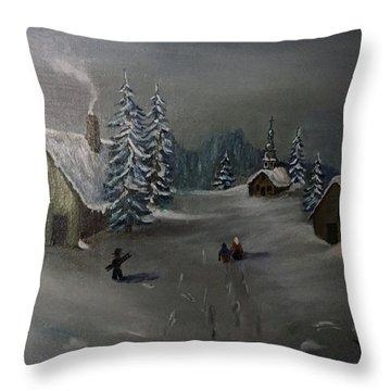 Winter In A German Village Throw Pillow