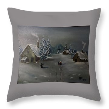 Winter In A German Village Throw Pillow
