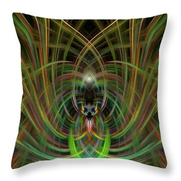 Winged Bug Throw Pillow by Cherie Duran