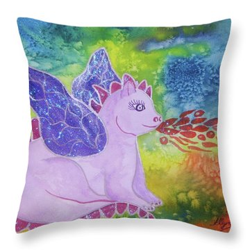 Throw Pillow featuring the painting Winged Dragon by Ellen Levinson