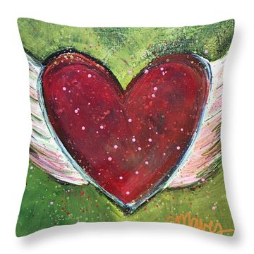 Winged Heart Number 1 Throw Pillow by Laurie Maves ART