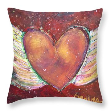 Throw Pillow featuring the painting Winged Heart Number 2 by Laurie Maves ART